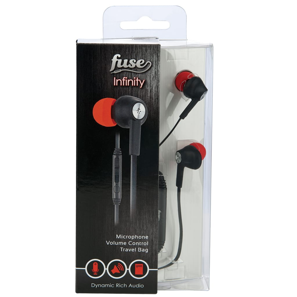 Fuse Infinity Earphones With Microphone And Tangle Free Cord In Black And Red