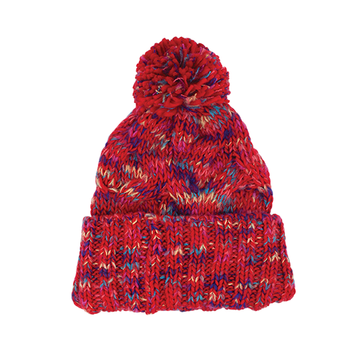 Multi Colour Aerial Beanie With Pom Po