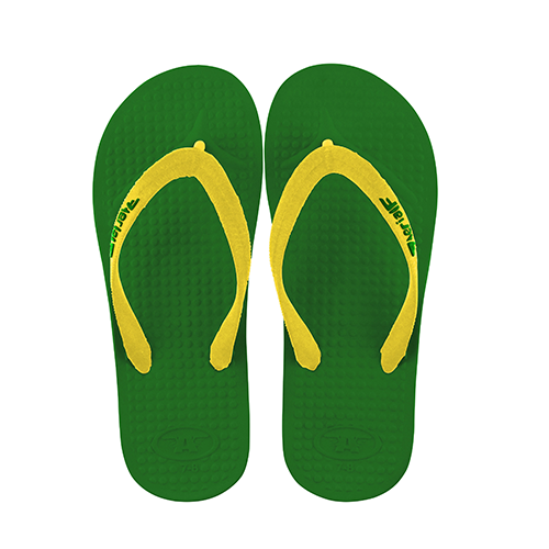 Aerial Green And Gold Australia Thongs