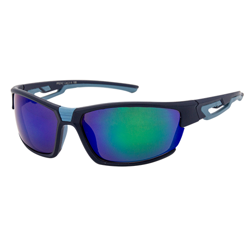 Aerial Sunglasses Wrap Around Green Blue Flash Lens