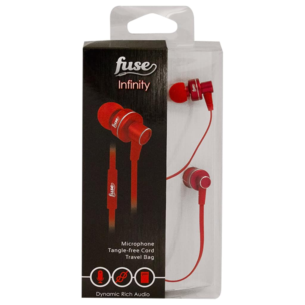 Fuse Infinity Earphones With Microphone And Tangle Free Cord In Red